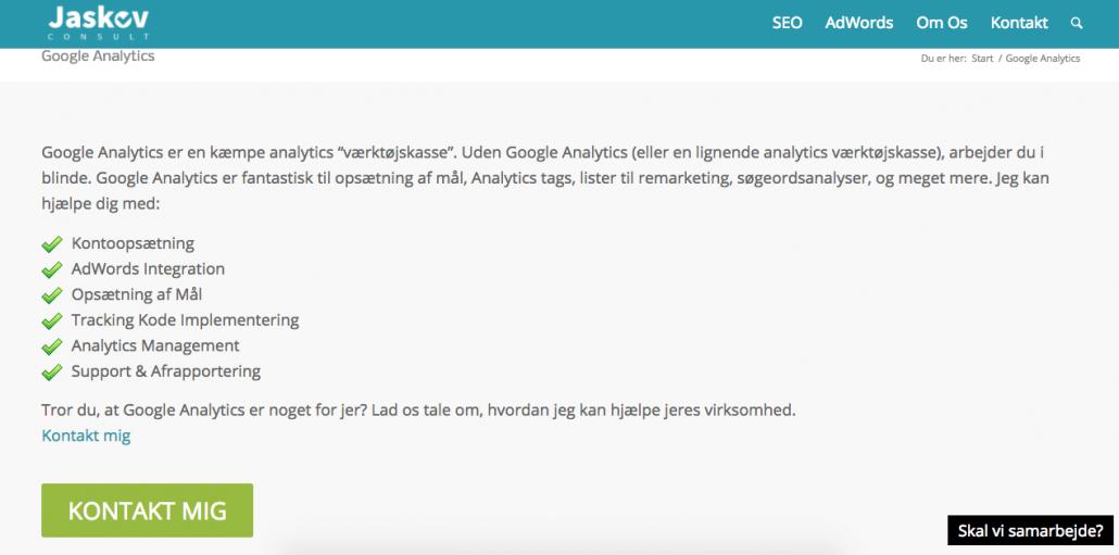 Google analytics landingpage jaskovconsult