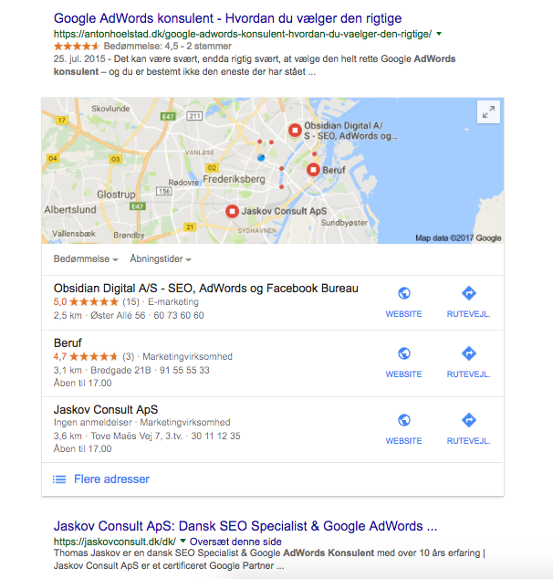 Google adwords consultant search result