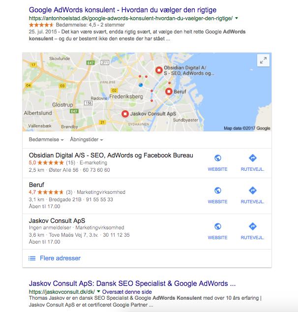 Google søgning adwords konsulent