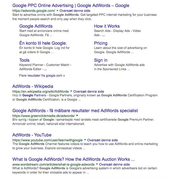 Google organisk søgeresultat
