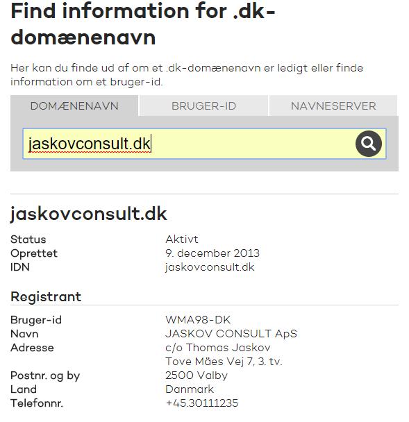 domain lookup of jaskovconsult.dk