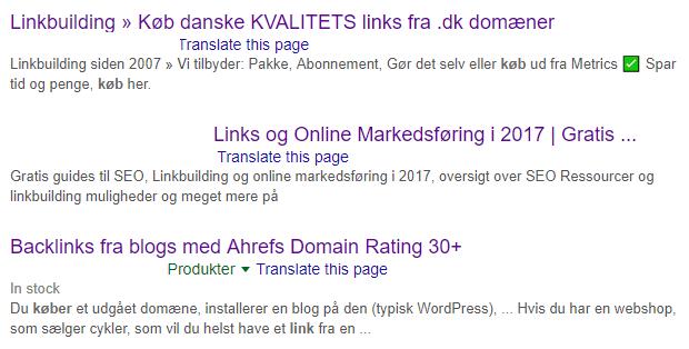 websites der sælger links